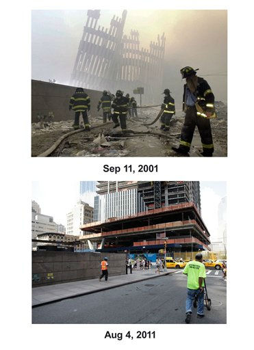 "<div class=""meta ""><span class=""caption-text "">Shown in this combo image are two documentations of the September 11, 2001, terrorist attack in New York City and the current day location. (Top) Firefighters work beneath the destroyed mullions, the vertical struts which once faced the soaring outer walls of the World Trade Center towers, after a terrorist attack on the twin towers of lower Manhattan Tuesday, Sept. 11, 2001. (Below) The tower known as Four World Trade Center is under construction in lower Manhattan, Aug. 4, 2011 in New York. (AP Photo/ Mark Lennihan) (Photo/Mark Lennihan)</span></div>"
