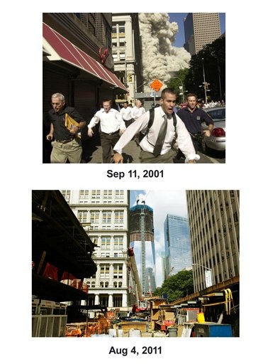 Shown in this combo image are two documentations of the September 11, 2001, terrorist attack in New York City and the current day location. &#40;Top&#41; Pedestrians flee the area of the World Trade Center as the center&#39;s south tower collapses following a terrorist attack on the New York landmark Tuesday, Sept. 11, 2001. &#40;Below&#41; The skyscraper known as 1 World Trade Center is under construction in lower Manhattan, Aug. 4, 2011 in New York. &#40;AP Photos&#47; Mark Lennihan&#41;  <span class=meta>(Photo&#47;Mark Lennihan)</span>