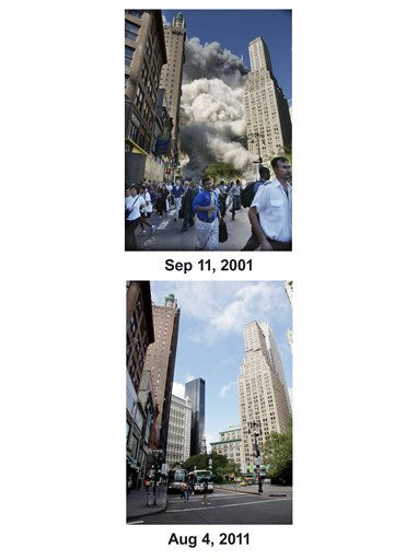 Shown in this combo image are two documentations of the September 11, 2001, terrorist attack in New York City and the current day location. &#40;Top&#41; Pedestrians flee the area of the World Trade Center as the center&#39;s south tower collapses following a terrorist attack on the New York landmark Tuesday, Sept. 11, 2001. &#40;Below&#41; Activity on Park Row is shown in lower Manhattan, Aug. 4, 2011 in New York. &#40;AP Photos&#47;Mark Lennihan&#41;  <span class=meta>(Photo&#47;Mark Lennihan)</span>