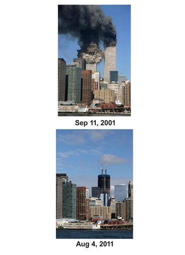 Shown in this combo image are two documentations of the September 11, 2001, terrorist attack in New York City and the current day location. &#40;Top&#41; The south tower starts to collapse as smoke billows from both buildings of the World Trade Center in New York. &#40;Below&#41; The skyscraper known as One World Trade Center rises in the lower Manhattan skyline, Aug. 4, 2011 in New York. &#40;AP Photo&#47; Jim Collins &#40;Top&#41;, Mark Lennihan &#40;Bottom&#41;&#41; <span class=meta>(Photo&#47;Jim Collins)</span>