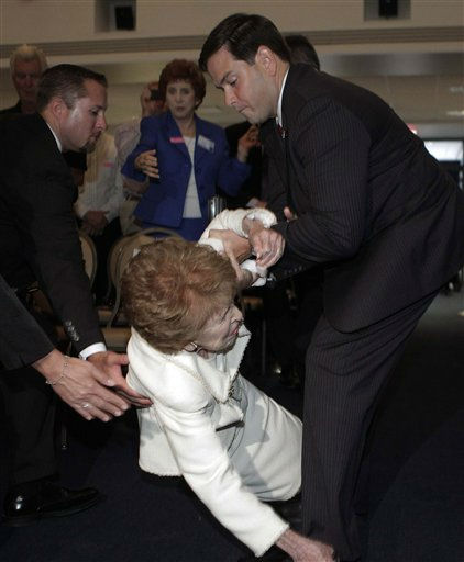 Former first lady Nancy Reagan is helped by Sen. Marco Rubio, R-Fla., as she takes a tumble at the Reagan Forum at the Ronald Reagan Presidential Library in Simi Valley, Calif., Tuesday, Aug. 23, 2011. &#40;AP Photo&#47;Jae C. Hong&#41; <span class=meta>(AP Photo&#47; Jae C. Hong)</span>