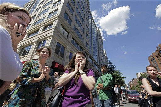 "<div class=""meta ""><span class=""caption-text "">Office workers gather on the sidewalk in downtown Washington, Tuesday, Aug. 23, 2011, moments after a 5.9 magnitude tremor shook the nation's capitol. The earthquake centered northwest of Richmond, Va., shook much of Washington, D.C., and was felt as far north as Rhode Island and New York City.  (AP Photo/J. Scott Applewhite) (AP Photo/ J. Scott Applewhite)</span></div>"
