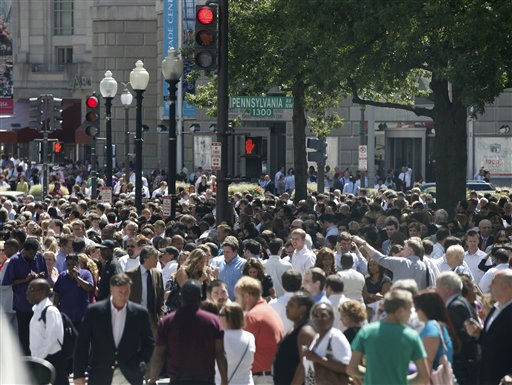"<div class=""meta ""><span class=""caption-text "">People crowd Pennsylvania Avenue in Washington, Tuesday, Aug. 23, 2011, as they evacuate buildings after an earthquake his the in Washington area. The 5.9 magnitude earthquake centered northwest of Richmond, Va., shook much of Washington, D.C., and was felt as far north as Rhode Island and New York City. (AP Photo/Charles Dharapak) (AP Photo/ Charles Dharapak)</span></div>"