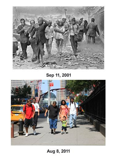 "<div class=""meta ""><span class=""caption-text "">Shown in this combo image are two documentations of the September 11, 2001, terrorist attack in New York City and the current day location. (Top)  People covered in dust walk over debris near the World Trade Center in New York. (Below) Pedestrians walk near the World Trade Center in lower Manhattan, Aug. 8, 2011 in New York. (AP Photo/ Gulnara Samilova (Top), Mark Lennihan (Bottom))  (Photo/GULNARA SAMOILOVA)</span></div>"