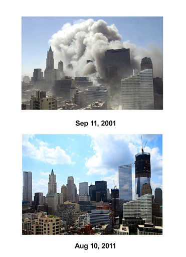 Shown in this combo image are two documentations of the September 11, 2001, terrorist attack in New York City and the current day location. &#40;Top&#41; Smoke rises into the sky following the collapse of World Trade Center Towers Tuesday, Sept. 11, 2001 in New York.  &#40;Below&#41; The skyscraper known as One World Trade Center rises in lower Manhattan, Aug. 10, 2011 in New York. &#40;AP Photo&#47; Suzanne Plunkett &#40;Top&#41;, Mark Lennihan &#40;Bottom&#41;&#41;  <span class=meta>(Photo&#47;Mark Lennihan)</span>