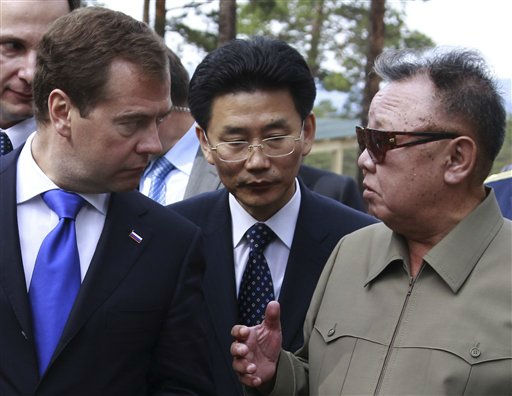 North Korean leader Kim Jong Il, right, speaks with Russian President Dmitry Medvedev, left, during a meeting an a military garrison, outside Ulan-Ude, Wednesday, Aug. 24, 2011. Russian President Dmitry Medvedev arrived Wednesday in remote eastern Siberia for a summit with North Korean leader Kim Jong Il expected to focus on energy deals, economic aid and nuclear disarmament.&#40;AP Photo&#47;RIA Novosti, Dmitry Astakhov, Presidential Press Service&#41; <span class=meta>(AP Photo&#47; Dmitry Astakhov)</span>