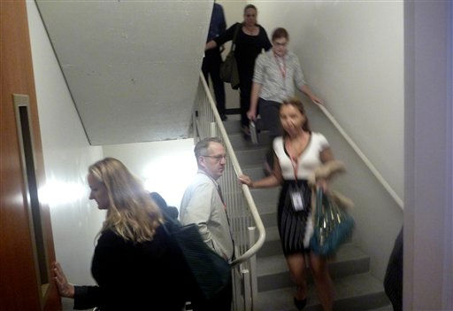 "<div class=""meta ""><span class=""caption-text "">People use the stairs to evacuate a building in Washington, Wednesday, Aug. 24, 2011, after an earthquake hit the Washington area. The 5.9 magnitude earthquake centered northwest of Richmond, Va., shook much of Washington, D.C., and was felt as far north as Rhode Island and New York City.  (AP Photo/Charles Dharapak) (AP Photo/ Charles Dharapak)</span></div>"