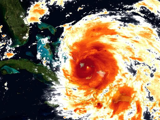 An image provided by NOAA  is an infrared colorized view of Hurricane Irene as it advances towards the East Coast was made by the GOES satellite Wednesday Aug. 24, 2011.  Irene could hit North Carolina&#39;s Outer Banks on Saturday afternoon with winds around 115 mph &#40;185 kph&#41;. It&#39;s predicted to chug up the East Coast, dumping rain from Virginia to New York City.  &#40;AP Photo&#47;NOAA&#41; <span class=meta>(AP Photo&#47; Anonymous)</span>