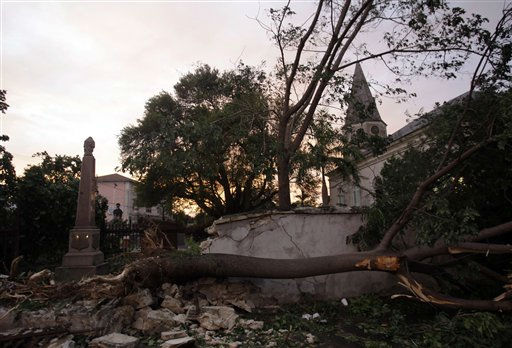 A downed tree is shown in front of the St. Matthews Anglican Church in the aftermath of Hurricane Irene in Nassau, on New Providence Island in the Bahamas, Thursday, Aug. 25, 2011. Irene hit Nassau with tropical storm strength winds as it passed to the east.  &#40;AP Photo&#47;Lynne Sladky&#41; <span class=meta>(AP Photo&#47; Lynne Sladky)</span>