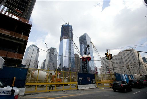 Construction cranes stand on the World Trade Center site on Friday, Aug. 26, 2011 in New York. The Port Authority of New York and New Jersey said Friday it is securing all cranes and other construction equipment at the site due to Hurricane Irene. &#40;AP Photo&#47;Jin Lee&#41; <span class=meta>(AP Photo&#47; Jin Lee)</span>