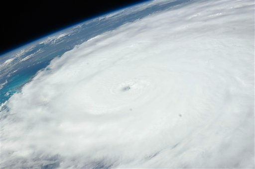 An image provided by NASA shows Hurricane Irene as photographed from onboard the International Space Station at 3:14 p.m. EDT on Aug. 24, 20ll. The image, captured with a 38 mm lens, reveals the eye of the storm at center of the frame.  &#40;AP Photo&#47;NASA&#41; <span class=meta>(AP Photo&#47; Anonymous)</span>