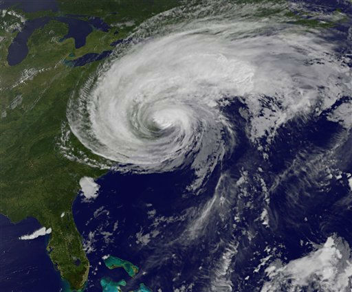 This image made available by the NASA&#47;NOAA GOES Project shows Hurricane Irene on the East Coast of the United States at 7:40 p.m. EDT on Saturday, Aug. 27, 2011. &#40;AP Photo&#47;NASA&#47;NOAA GOES Project&#41; <span class=meta>(AP Photo&#47; Anonymous)</span>