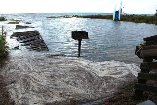 Debris from Hurricane Irene collects in the water at Whalebone Sound near Nags Head, N.C., Sunday, Aug. 28, 2011. Initial reports suggested light damages in many areas from Irene, a lower-strength hurricane when it struck the U.S. &#40;AP Photo, Robert Ray&#41; <span class=meta>(AP Photo&#47; Robert Ray)</span>