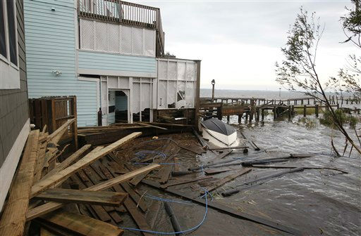 "<div class=""meta ""><span class=""caption-text "">Debris is strewn about a storm-damaged home from Hurricane Irene on the Outer Banks in Kill Devil Hills, N.C., Sunday, Aug. 28, 2011. Irene inflicted scattered damage over such a broad area that the total damage _ and costs involved _ are not yet known. (AP Photo/Charles Dharapak) (AP Photo/ Charles Dharapak)</span></div>"