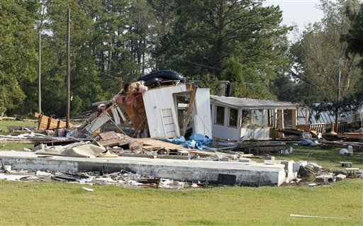 "<div class=""meta ""><span class=""caption-text "">A destroyed home sits near the shoreline of the Pamilco River near Aurora, N.C., Sunday, Aug. 28, 2011 after Hurricane Irene hit the North Carolina coast. (AP Photo/Chuck Burton) (AP Photo/ Chuck Burton)</span></div>"