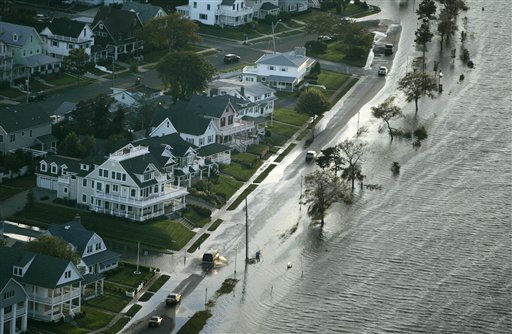 Flooded streets caused by Hurricane Irene near Asbury Park, N.J., Sunday, Aug. 28, 2011. &#40;AP Photo&#47;Rich Schultz&#41; <span class=meta>(AP Photo&#47; Rich Schultz)</span>