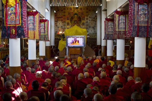 The Dalai Lama is seen on a TV giving a religious talk at the Tsuglakhang temple in Dharmsala, India, Tuesday, Aug. 30, 2011. The three-day religious talk began Tuesday. &#40;AP Photo&#47;Ashwini Bhatia&#41; <span class=meta>(AP Photo&#47; Ashwini Bhatia)</span>