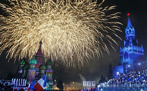 Fireworks are seen in the sky over St. Basil Cathedral, left, and Spasskaya tower,right, at the International Military Music Festival Spasskaya Tower at the Red Square in Moscow, Russia, Wednesday, Aug. 31, 2011. Festival was opening on Wednesday in Moscow for five days. &#40;AP Photo&#47;Mikhail Metzel&#41; <span class=meta>(AP Photo&#47; Mikhail Metzel)</span>
