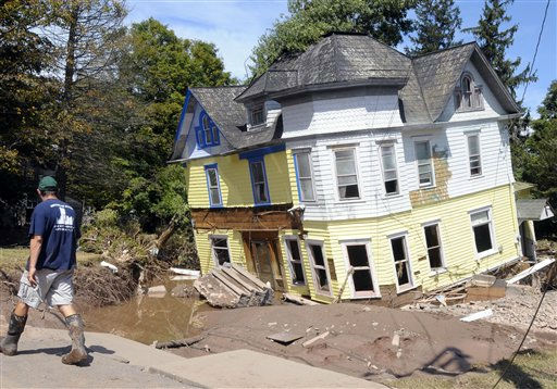 First responders work on cleaning up the damage caused by Tropical Storm Irene in Prattsville, N.Y., Wednesday, Aug. 31, 2011. &#40;AP Photo&#47;Hans Pennink&#41; <span class=meta>(AP Photo&#47; Hans Pennink)</span>