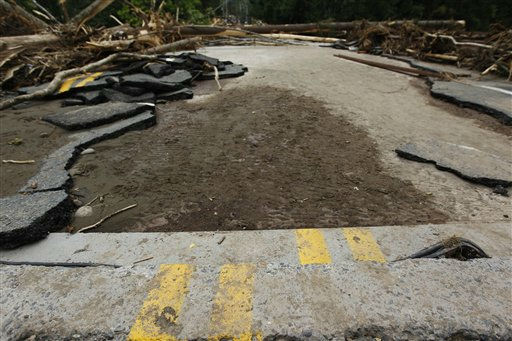A  bridge is severely damaged days after Tropical Storm Irene struck the area, Thursday, Sept. 1, 2011, in Phoenicia, N.Y.  &#40;AP Photo&#47;Matt Rourke&#41; <span class=meta>(AP Photo&#47; Matt Rourke)</span>