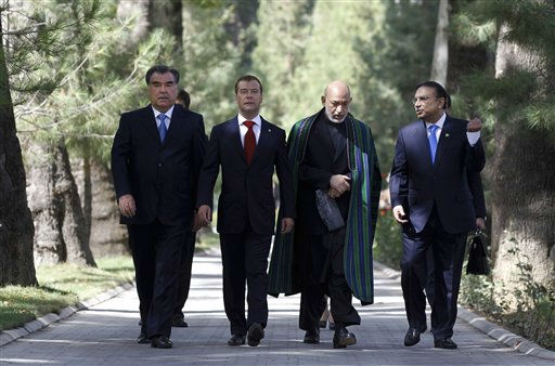 Tajikistan&#39;s President Emomali Rakhmon, Russian President Dmitry Medvedev, Afghanistan&#39;s President Hamid Karzai and Pakistan&#39;s President Asif Ali Zardari, from left, walk prior to their meeting in Dushanbe, Tajikistan, Friday, Sept. 2, 2011. The leaders of the four nations gathered to discuss reconstruction in Afghanistan and the joint fight against drug trafficking and terrorism. &#40;AP Photo&#47;RIA Novosti, Dmitry Astakhov, Presidential Press Service&#41; <span class=meta>(AP Photo&#47; Dmitry Astakhov)</span>