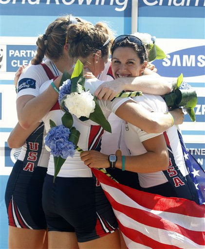 The team of the United States celebrate their gold medals on the podium of the Women&#39;s Four event at tThe World Rowing Championships in Bled, Slovenia, Saturday, Sep. 3, 2011. &#40;AP Photo&#47;Filip Horvat&#41; <span class=meta>(AP Photo&#47; Filip Horvat)</span>