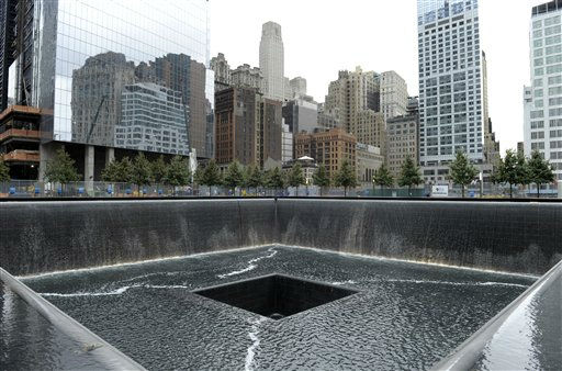 "<div class=""meta image-caption""><div class=""origin-logo origin-image ""><span></span></div><span class=""caption-text"">A view of the World Trade Center North Tower memorial pool at the National September 11 Memorial and Museum in New York,Tuesday, Sept. 6, 2011.  (AP Photo/Susan Walsh, POOL) (AP Photo/ Susan Walsh)</span></div>"