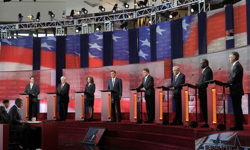 Republican presidential candidates, from left, former Pennsylvania Sen. Rick Santorum, former House Speaker Newt Gingrich, Rep. Michele Bachmann, R-Minn., former Massachusetts Gov. Mitt Romney, Texas Gov. Rick Perry, Rep. Ron Paul, R-Texas, businessman Herman Cain and former Utah Gov. Jon Huntsman stand at the podium to answer questions during a debate at the Reagan Library Wednesday, Sept. 7, 2011, in Simi Valley, Calif. &#40;AP Photo&#47;Jae C. Hong&#41; <span class=meta>(AP Photo&#47; Jae C. Hong)</span>