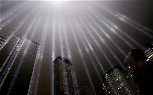 A test of the Tribute in Light rises above lower Manhattan, Wednesday, Sept. 7, 2011 in New York. The memorial, sponsored by the Municipal Art Society, will light the sky on the evening of Sept. 11, 2011 in honor of those who died ten years before in the terror attacks on the United States. &#40;AP Photo&#47;Seth Wenig&#41; <span class=meta>(AP Photo&#47; Seth Wenig)</span>