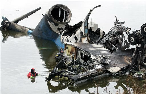 "<div class=""meta ""><span class=""caption-text "">Divers search the wreckage at a crash site near Yaroslavl, on the Volga River about 150 miles (240 kilometers) northeast of Moscow, Thursday, Sept. 8, 2011. Investigators searched for flight recorders in the shattered remains of an airliner that crashed, killing 43 people including most of one of Russia's premier hockey teams.  (AP Photo/ Maxim Shipenkov, pool) (AP Photo/ Maxim Shipenkov)</span></div>"