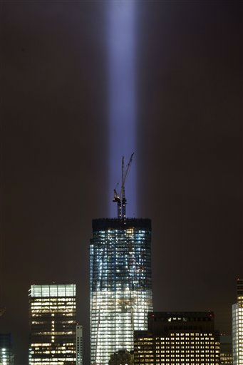 A test of the Tribute in Light rises above One World Trade Center and lower Manhattan, Thursday, Sept. 8, 2011 in New York. &#40;AP Photo&#47;Mark Lennihan&#41; <span class=meta>(AP Photo&#47; Mark Lennihan)</span>