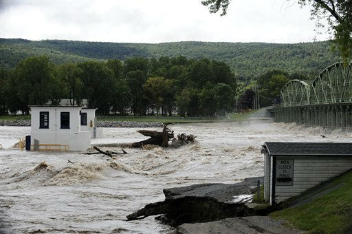 "<div class=""meta ""><span class=""caption-text "">View of Lock-9 covered with water where the aporoach to the bridge on Route 103 that spans the Mohawk River washed away from flood waters in  the Town of Glenville, N.Y., Thursday, Sept. 8, 2011.  Susquehanna River on Thursday as the remnants of Tropical Storm Lee dumped more rain across the Northeast, closing major highways and socking areas still recovering from Hurricane Irene.  (AP Photo/Hans Pennink) (AP Photo/ Hans Pennink)</span></div>"