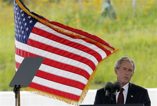 "<div class=""meta ""><span class=""caption-text "">Former President George W. Bush speaks during the dedication of phase 1 of the permanent Flight 93 National Memorial near the crash site of Flight 93 in Shanksville, Pa. Saturday Sept. 10, 2011.  (AP Photo/Gene J. Puskar) (AP Photo/ Gene J. Puskar)</span></div>"