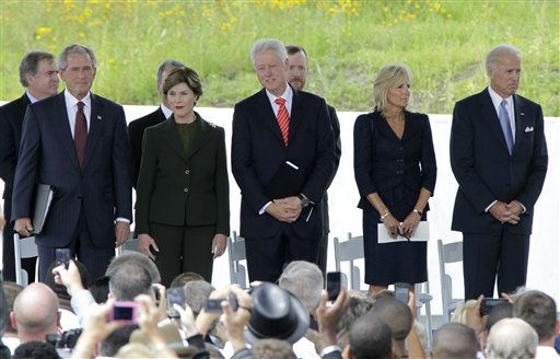 Former President George W. Bush, former first lady Laura Bush, former President Bill Clinton, Dr. Jill Biden and Vice President Joe Biden stand together after arriving on the stage to attend the dedication of phase 1 of the permanent Flight 93 National Memorial near the crash site of Flight 93 in Shanksville, Pa. Saturday Sept. 10, 2011.  &#40;AP Photo&#47;Gene J. Puskar&#41; <span class=meta>(AP Photo&#47; Gene J. Puskar)</span>