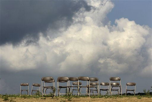 "<div class=""meta ""><span class=""caption-text "">Empty chairs line the hillside following  the dedication ceremony of phase 1 of the permanent Flight 93 National Memorial near the crash site of United Flight 93 in Shanksville, Pa. on Saturday Sept. 10, 2011.  (AP Photo/Amy Sancetta) (AP Photo/ Amy Sancetta)</span></div>"