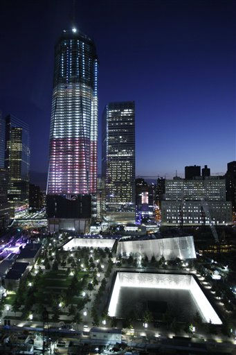 "<div class=""meta ""><span class=""caption-text "">One World Trade Center and the  National September 11 Memorial are seen before a planned ceremony marking the 10th anniversary of the attacks at the World Trade Center site, Sunday, Sept. 11, 2011, in New York. A decade has passed since the Sept. 11 attacks when terrorists crashed hijacked planes into the World Trade Center and the Pentagon, and a fourth plane crashed into a field in rural western Pennsylvania.  (AP Photo/Matt Rourke) (AP Photo/ Matt Rourke)</span></div>"