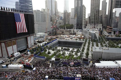 The World Trade Center the ceremony takes place at the National September 11 Memorial marking the 10th anniversary of the attacks, Sunday, Sept. 11, 2011 in New York.&#40;AP Photo&#47;Mark Lennihan&#41; <span class=meta>(AP Photo&#47; Mark Lennihan)</span>