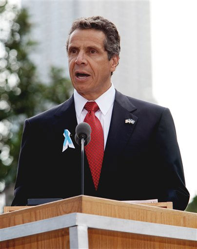 "<div class=""meta image-caption""><div class=""origin-logo origin-image ""><span></span></div><span class=""caption-text"">New York Gov. Andrew Cuomo delivers his remarks during 10th anniversary ceremonies at the Sept. 11 memorial, Sunday Sept. 11, 2011, in New York. (AP Photo/Allan Tannenbaum, Pool) (AP Photo/ Allan Tannenbaum)</span></div>"