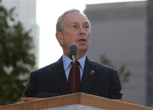 "<div class=""meta image-caption""><div class=""origin-logo origin-image ""><span></span></div><span class=""caption-text"">New York Mayor Michael Bloomberg speaks during a ceremony marking the 10th anniversary of the attacks on the world Trade Center at the National September 11 Memorial in New York Sunday, Sept. 11, 2011. (AP Photo/Allan Tannenbaum, Pool) (AP Photo/ Allan Tannenbaum)</span></div>"