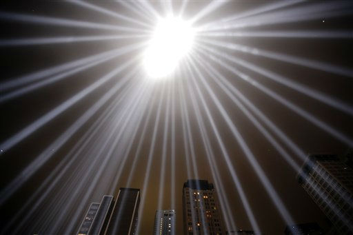 The Tribute in Light shines above Lower Manhattan, marking the 10th anniversary of the attacks at the World Trade Center site, Sunday, Sept. 11, 2011, in New York. &#40;AP Photo&#47;Matt Rourke&#41; <span class=meta>(AP Photo&#47; Matt Rourke)</span>