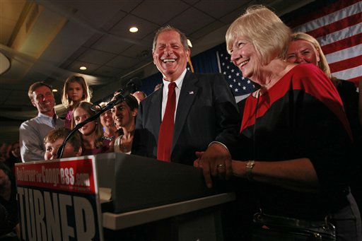 Bob Turner, center, joined by his wife Peggy, right, and family smiles as he  delivers his victory speech during an election night party, Wednesday, Sept. 14, 2011 in New York. Turner says his shocking win in a heavily Democratic New York City district is a &#34;loud and clear&#34; message to Washington.  &#40;AP Photo&#47;Mary Altaffer&#41; <span class=meta>(AP Photo&#47; Mary Altaffer)</span>