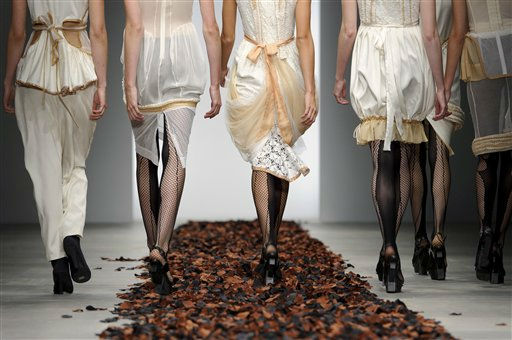 Models present outfits by Bora Aksu at London Fashion Week in London, Friday, Sept. 16, 2011. &#40;AP Photo&#47;Jonathan Short&#41; <span class=meta>(AP Photo&#47; Jonathan Short)</span>