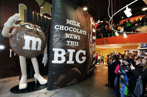 In this photo released by Mars, a 10-foot statue of the latest M&#38;M&#39;S character, Ms. Brown, is unveiled at the M&#38;M&#39;S World Store, Monday, Jan. 30, 2012 in New York. Ms. Brown will make her debut during a commercial that will air during the first quarter of Super Bowl XLVI on Sunday. &#40;AP Photo&#47;M&#38;Ms, Gary He&#41; <span class=meta>(AP Photo&#47; GARY HE)</span>