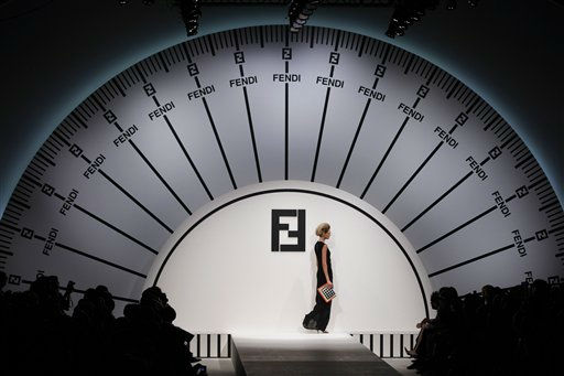 A model wears a creation part of the Fendi women&#39;s Spring-Summer 2012 collection, during the Fashion Week in Milan, Italy, Thursday, Sept. 22, 2011.&#40;AP Photo&#47;Luca Bruno&#41; <span class=meta>(AP Photo&#47; Luca Bruno)</span>