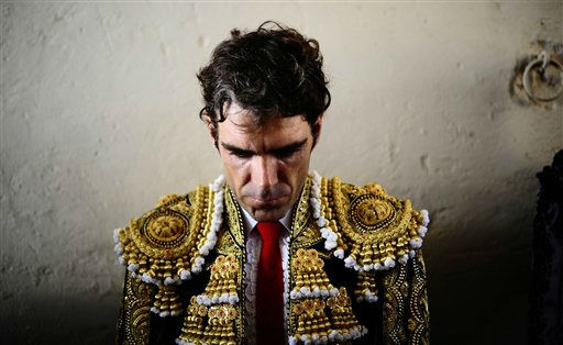 "<div class=""meta image-caption""><div class=""origin-logo origin-image ""><span></span></div><span class=""caption-text"">Spanish bullfighter Jose Tomas waits before performing at the Monumental bullring in Barcelona, Spain, Sunday, Sept. 25, 2011. Spain's powerful northeastern region of Catalonia bids farewell Sunday to the country's emblematic tradition of bullfighting with a final bash at the Barcelona bullring. (AP Photo/Manu Fernandez) (AP Photo/ Manu Fernandez)</span></div>"