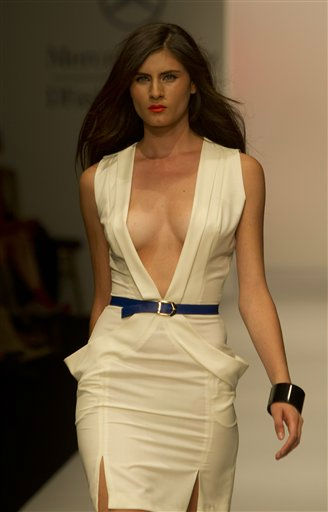 A model wears a creation by Colombian designer Jorge Duque during the Mexico Fashion Week in Mexico City, Monday, Sept. 26, 2011. &#40;AP Photo&#47;Moises Castillo&#41; <span class=meta>(AP Photo&#47; Moises Castillo)</span>