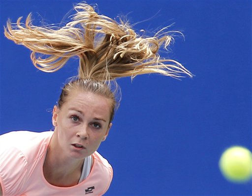 Magdalena Rybarikova of Slovakia watches the ball during their first round match of the Japan Pan Pacific Open tennis tournament against her compatriot Dominika Cibulkova in Tokyo,Tuesday, Sept. 27, 2011.  &#40;AP Photo&#47;Koji Sasahara&#41; <span class=meta>(AP Photo&#47; Koji Sasahara)</span>