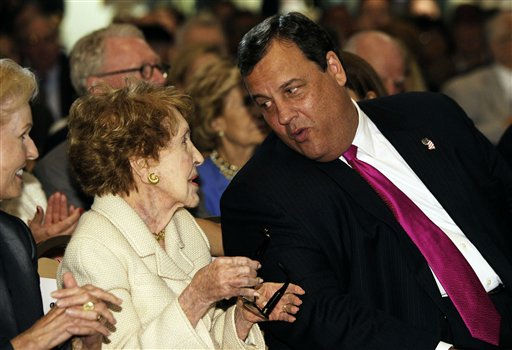"<div class=""meta ""><span class=""caption-text "">New Jersey Gov. Chris Christie, right, chats with former first lady Nancy Reagan at the Ronald Reagan Presidential Library in Simi Valley, Calif.,Tuesday, Sept. 27, 2011. Gov. Christie warned Tuesday that America's promise is being menaced from within, as a troubled U.S. economy, shaky leadership and political gridlock diminish the nation's ability to solve its problems. (AP Photo/Kevork Djansezian, Pool) (AP Photo/ Kevork Djansezian)</span></div>"