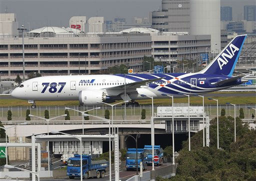 "<div class=""meta ""><span class=""caption-text "">The first Boeing 787 plane delivered to a Japanese commercial customer taxis after its landing at Tokyo?s international airport at Haneda on Wednesday Sept. 28, 2011, following a flight from Everett, Wash. All Nippon Airways is the first customer to take delivery of the 787.(AP Photo/Itsuo Inouye) (AP Photo/ Itsuo Inouye)</span></div>"