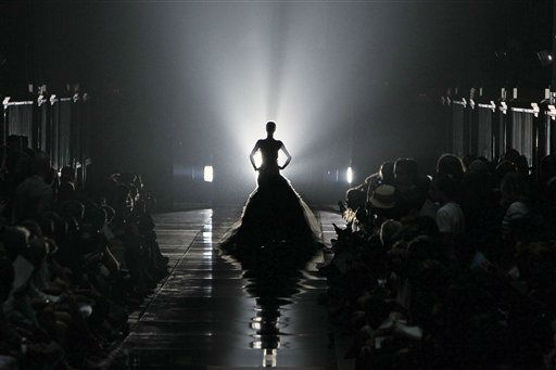 A model wears a creation by British fashion designer Bill Gaytten for John Galliano&#39;s fashion house spring-summer 2012 ready-to-wear collection presented Sunday, Oct.2, 2011 in Paris. &#40;AP Photo&#47;Francois Mori&#41; <span class=meta>(AP Photo&#47; Francois Mori)</span>
